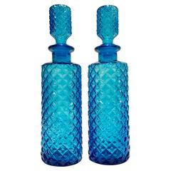 Pair of Vintage Italian Empoli Azure Diamond Cut-Glass Decanters