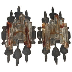 Pair of Tom Ahlstrom and Hans Ehrich Brutalist Mid-Century Wall Sconces