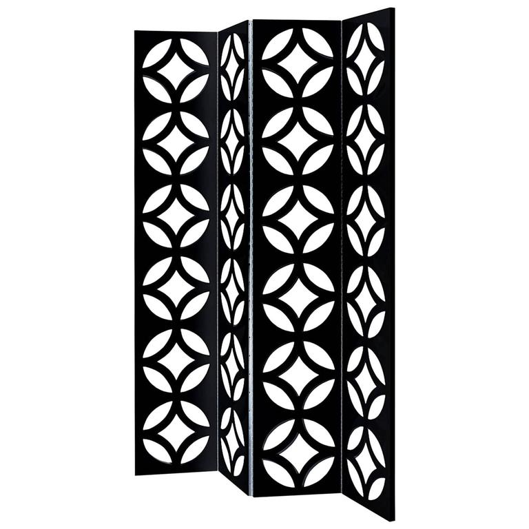Discus Folding Screen Black or White Lacquered
