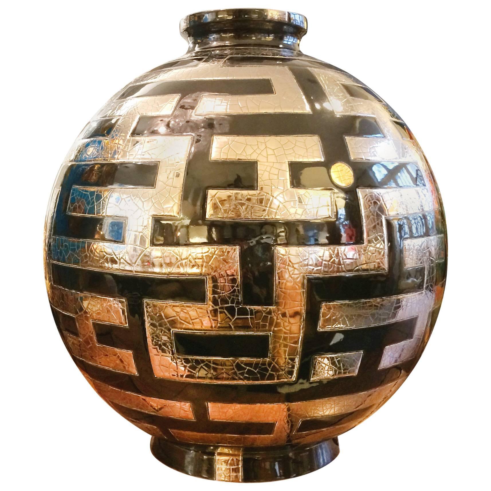 Labyrinth Vase Emaux de Longwy