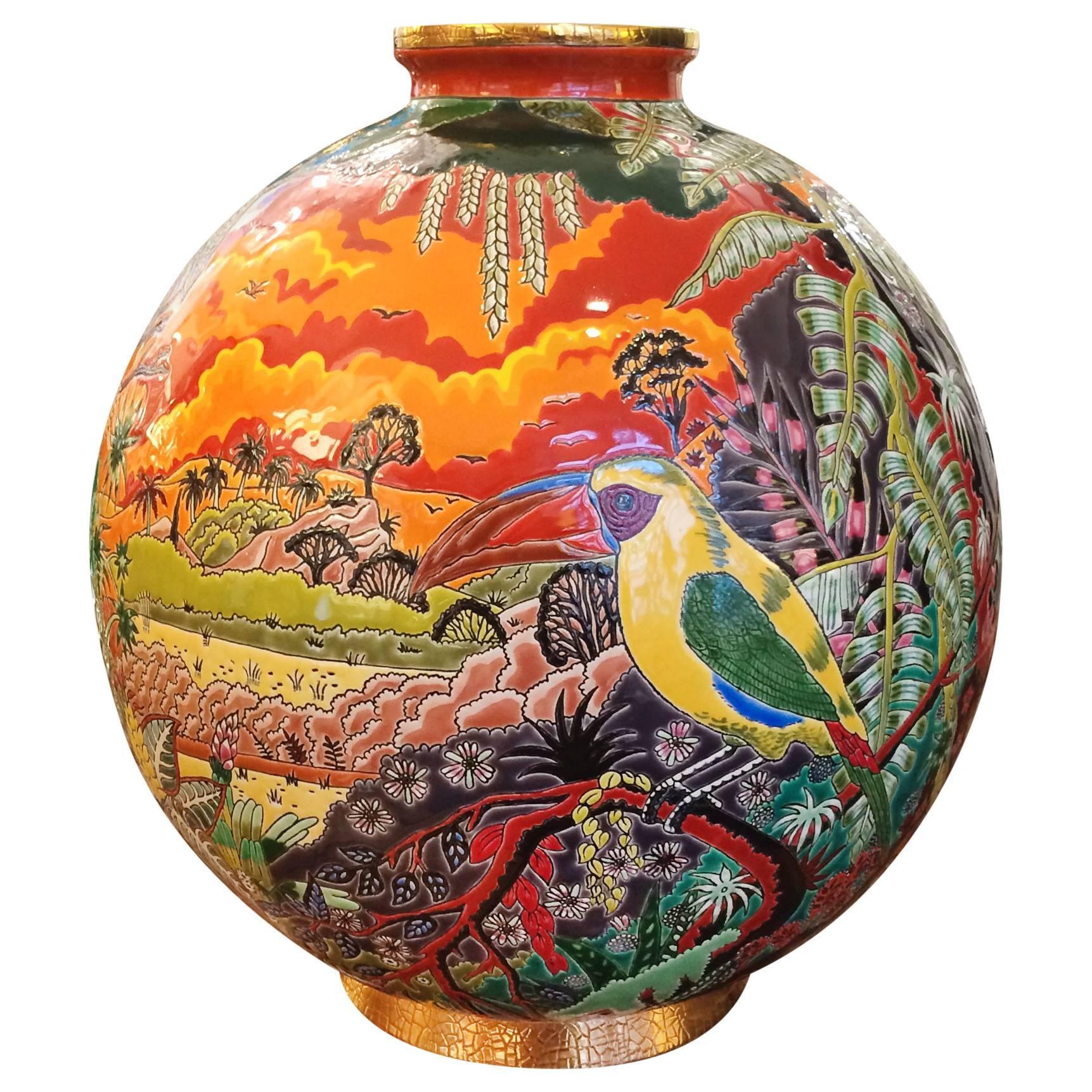 Toucan Vase Emaux de Longwy Limited Edition