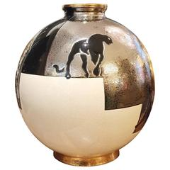 Black Panther Vase Emaux de Longwy