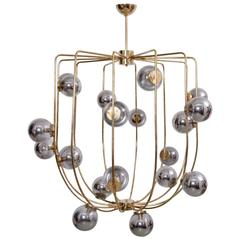 Impressive Brass and Mercury Glass Circus Chandelier in the Manner of Stilnovo