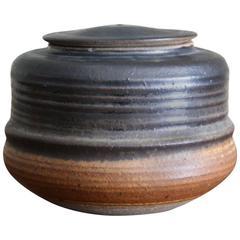Karen Karnes Stoneware Ceramic Lidded Vessel