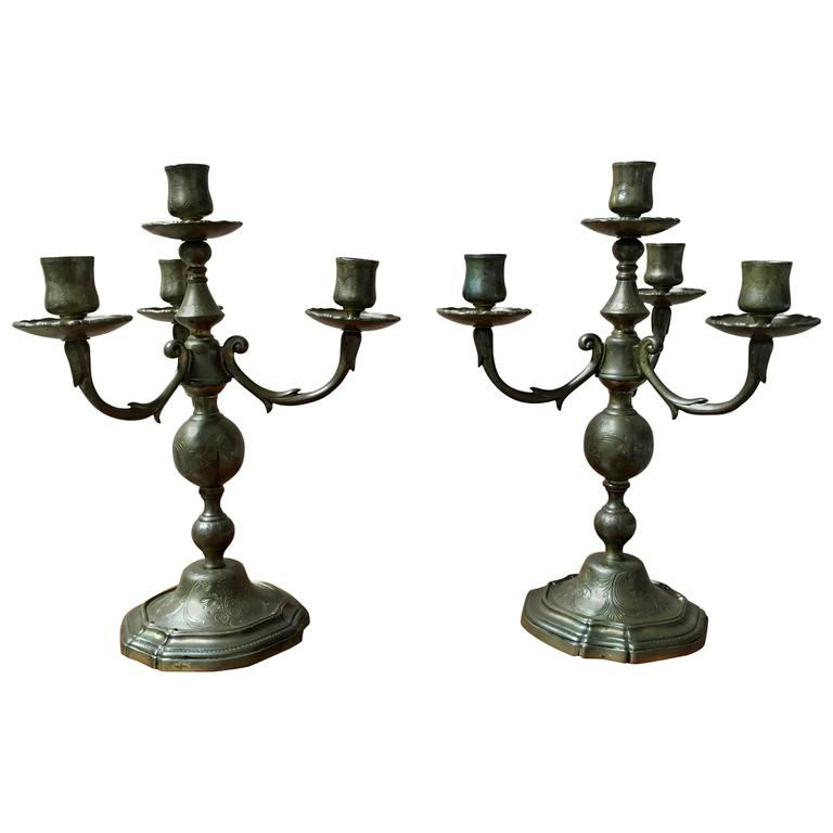 Pair of 18th Century Brass French Candelabra For Sale