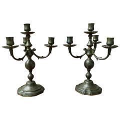 Pair of 18th Century Brass French Candelabra