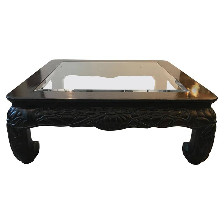 Glass Coffee Table Philippines: Large Square Asian Style Hand-Carved Coffee Table For Sale