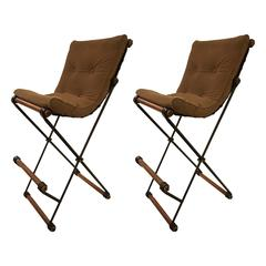 Pair of Wrought Iron and Oak Bar Stools by Cleo Baldon