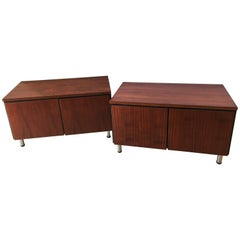Pair of Mid-Century Modern Rosewood with Chrome Feet Chests