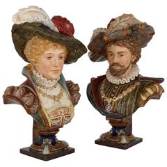 Pair of Glazed Majolica Busts of a Lady and Gentleman