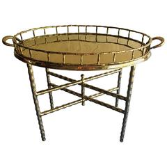 Brass Faux Bamboo Tray Table