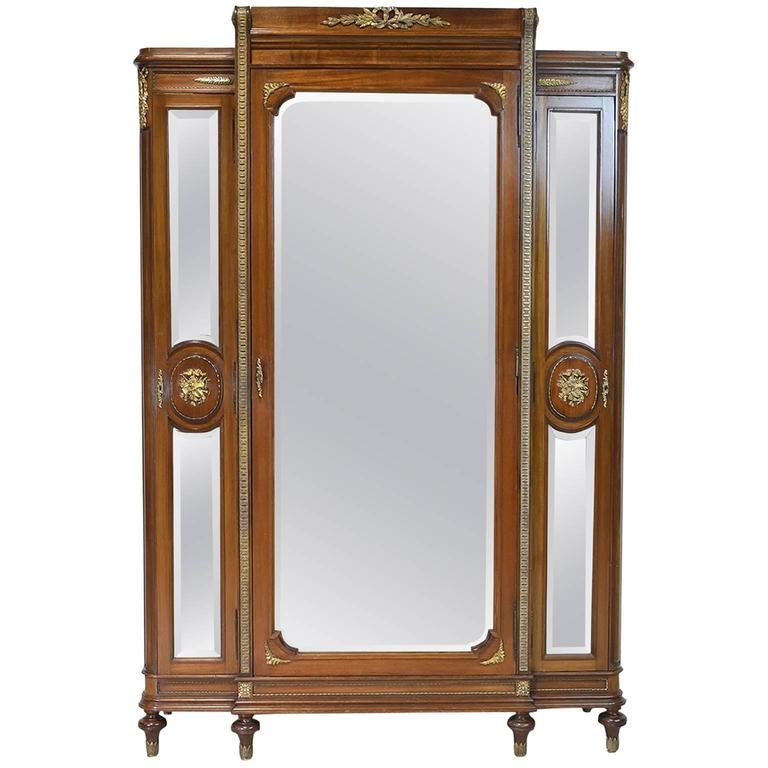 Belle Époque Louis XVI Style Armoire With Mirrored Doors And Ormolu, Circa  1870 For Sale