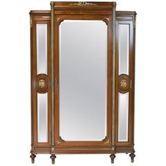 Belle Époque  Louis XVI Style Armoire with Mirrored Doors and Ormolu, circa 1870