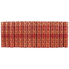 Superb Grolier Society Red Leather-Bound Set Days of the Dandies 15 Volumes