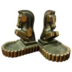 Pair of Art Deco Cubist Horse Bookends or Ashtrays with Patinated Bronze Finish