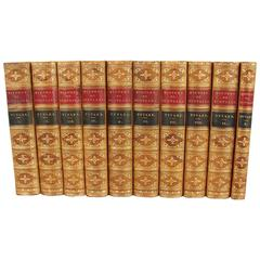 History of Scotland by Patrick Tytler in Brown Leather Bindings 10 Volumes