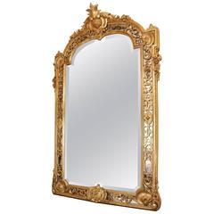 Fine and Large French 19th Century Giltwood Carved Mirror