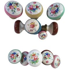 Large Assortment of Hand-Painted French Porcelain Doorknobs & Assorted Hardware