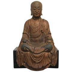 Chinese Carved Wood Figure of Ksitigarbha, Yuan Dynasty, 14th Century