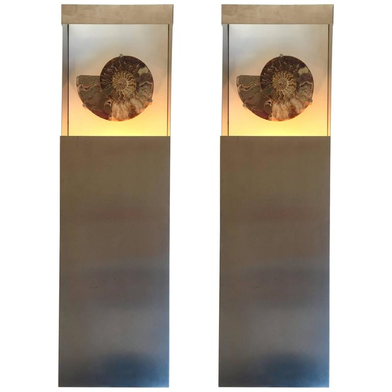 Pair of Sconces Ammonite Fossil, France, 1970s