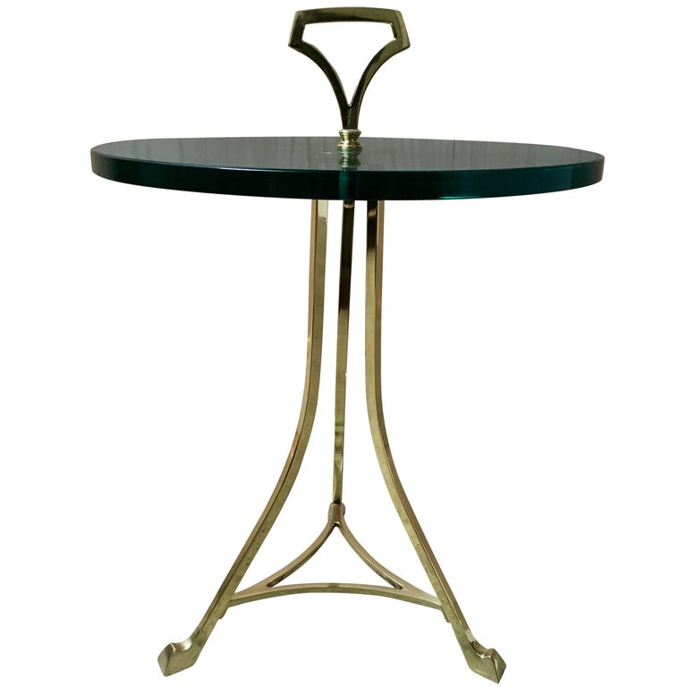 Mid-Century Brass and Glass End Table For Sale