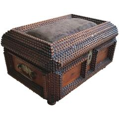 Late 19th Century Hand-Carved & Good Size Antique Folk Art Wooden Tramp Art Box