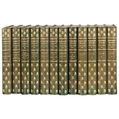 Lovely 12 Volume Gilt-Tooled Tall Leather Bound Set of Works of Goldsmith