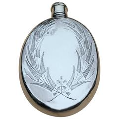 Arts and Crafts Aesthetic Movement Silver Hip or Pocket Flask, 1871