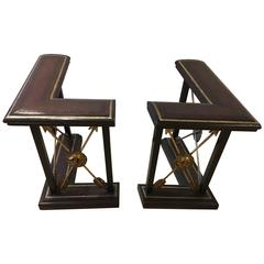 Pair of L-Shaped Fireplace Fenders by Maitland Smith