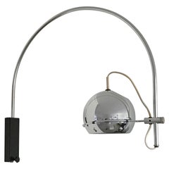 Vintage 1960s Adjustable Chrome Metal Globe Wall Lamp with Arched Chrome Arm