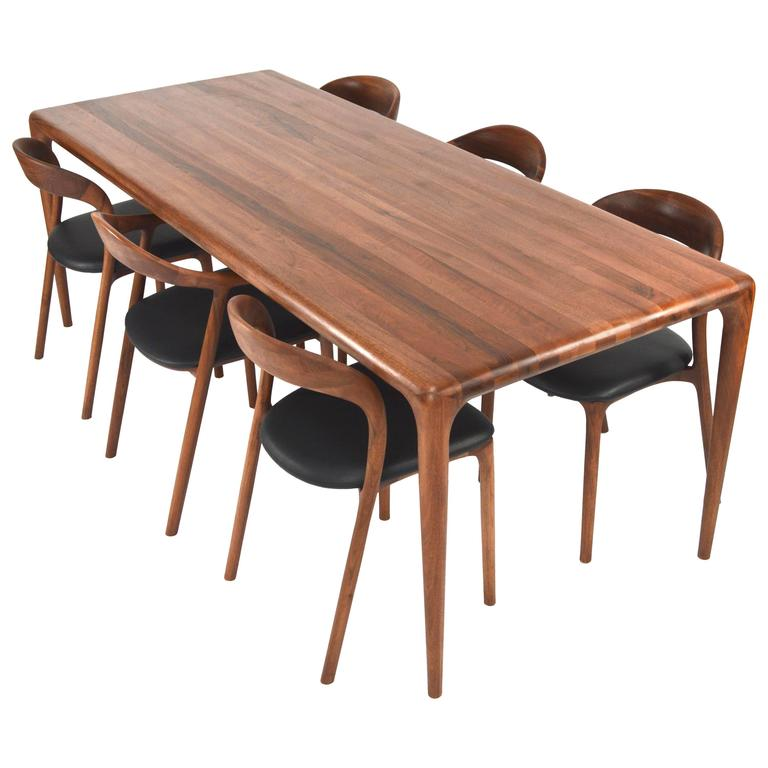 Artisan Dining Set In Solid Walnut At 1stdibs