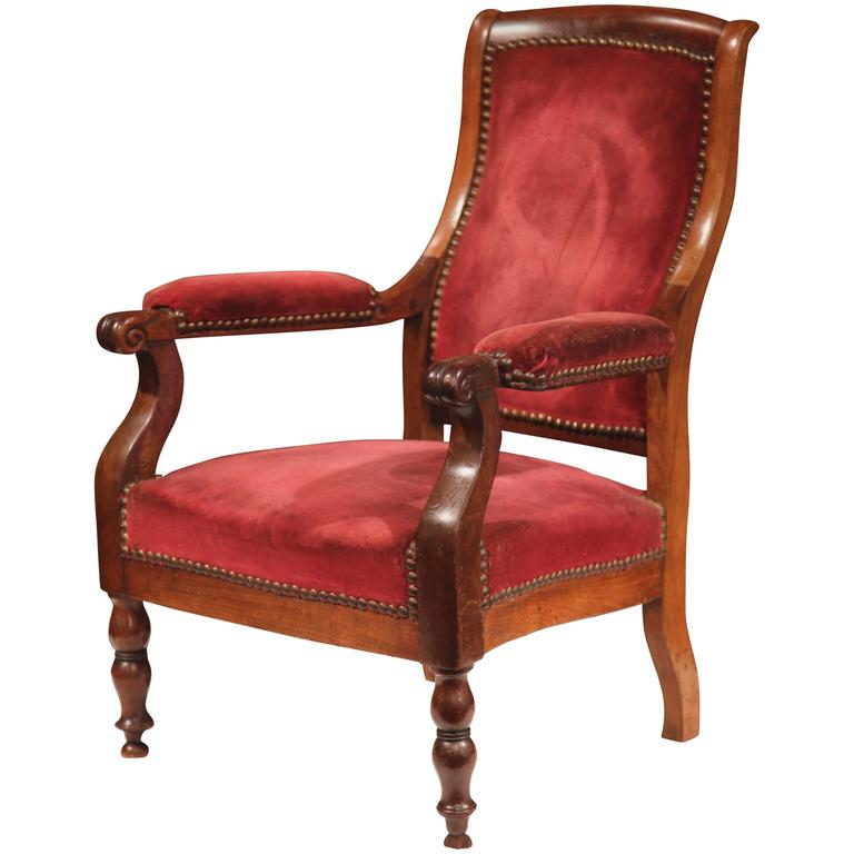 Mid 19th Century French Louis Philippe Walnut Child Armchair With Red Velvet  For Sale