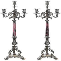 Pair of Italian Silver and Rhodochrosite Candelabra by Ganci Carmelo, Milan
