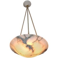 French Alabaster Bronze Pendant Light or Chandelier