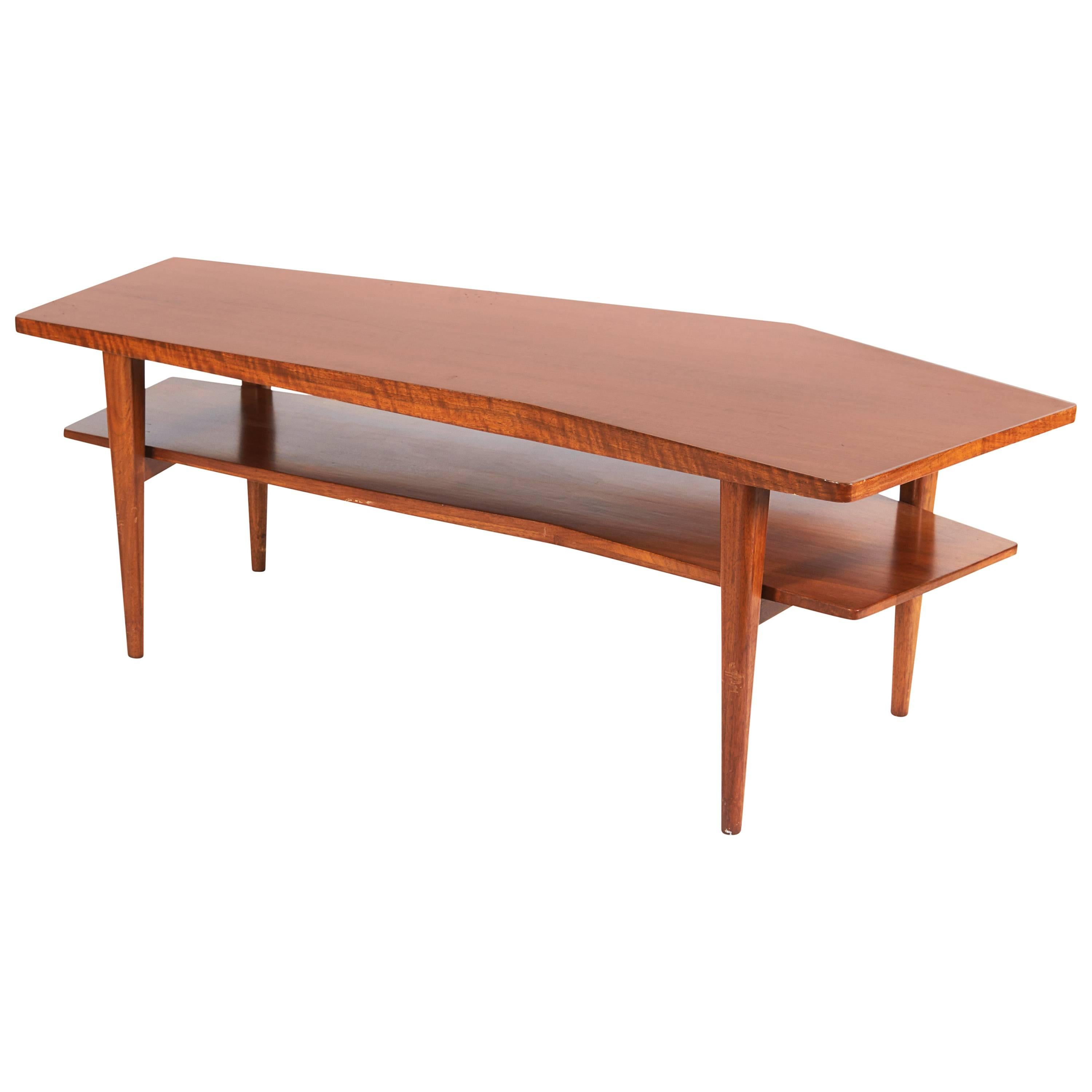 Walnut Coffee Table in the style of Bertha Schaefer for Singer & Sons, USA 1950