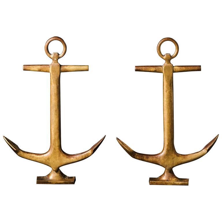 20th Century Anchor Andirons