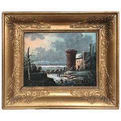 19th Century Oil on Board Castle Painting