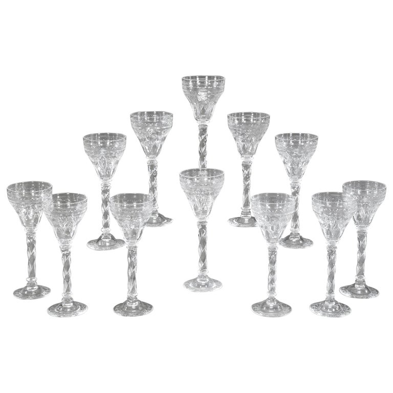 12 Webb Hand Blown Tall Crystal Goblets Wheel Cut with Twist Spiral Stem For Sale
