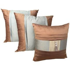 SALE Three Lee Jofa Silk Pillows Sandstone Brown, Graphite and Indian River Taup