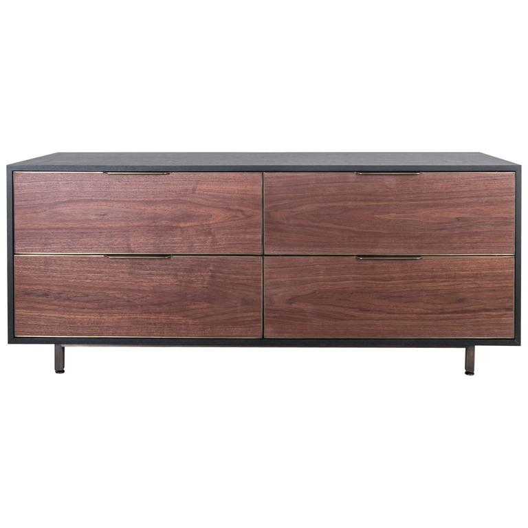 Sutton Dresser by Uhuru Design in Walnut, Antiqued Brass Base and Black Oak Case