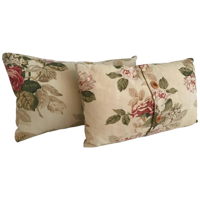 Two Sweet Vintage French Floral Pillows, Shabby Chic French Country Estate at 1stdibs