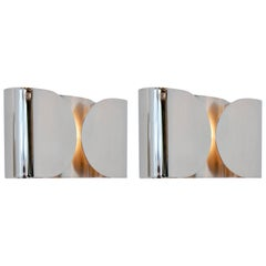 Foglio Sconces by Tobia Scarpa in Nickel Finish