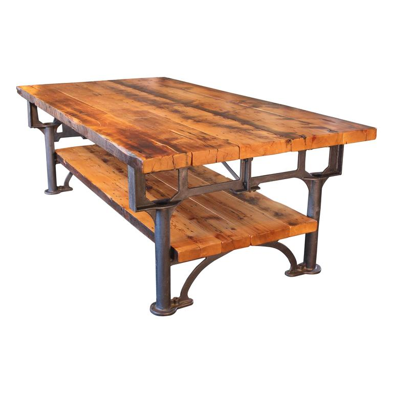 Industrial reclaimed wood harvest kitchen island great table for sale at 1stdibs - Industrial kitchen tables ...