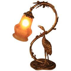 Art Nouveau Bronze Stork Table Lamp