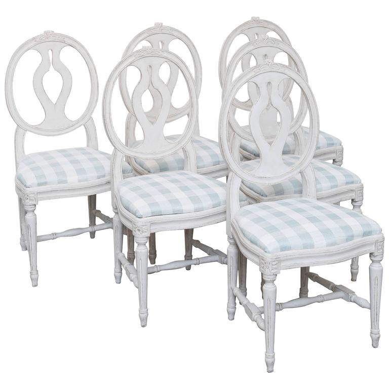 86de3596c486e Set of Six Antique Swedish Gustavian Style Painted Dining Chairs For Sale