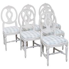 Set of Six Antique Swedish Gustavian Style Painted Dining Chairs