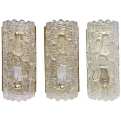 Set of Three Wall Sconces by Carl Fagerlund for Orrefors, Mid-20th Century