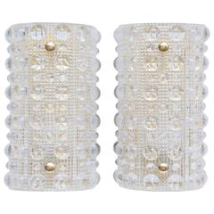 Pair of Carl Fagerlund Bubble Glass Wall Sconces for Orrefors, circa 1960s