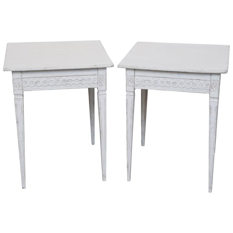 Pair of Antique Swedish Gustavian Painted Side Tables, Late 19th Century