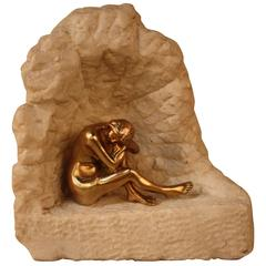 Nude Bronze Sculpture of a Sitting Woman